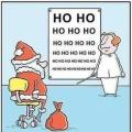 Kerstman bij de oogarts