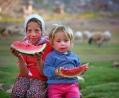 met de watermeloen in de hand!